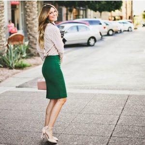 J. Crew emerald green pencil skirt